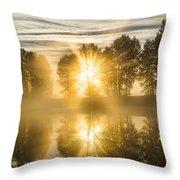 Riverside Morning Walks Throw Pillow