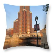 Riverwalk And Lamp Post Throw Pillow