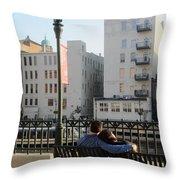 Riverwalk Couple On Bench Throw Pillow