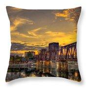 6th Street Sunset Augusta Georgia Riverwalk Marina Art Throw Pillow