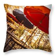Riverwalk Umbrellas Throw Pillow