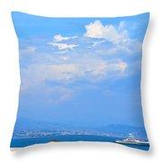 Riviera Blues Throw Pillow
