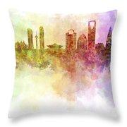 Riyadh Skyline In Watercolour Background  Throw Pillow