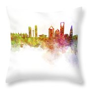 Riyadh Skyline In Watercolour On White Background Throw Pillow