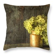 Rmonet Style Digital Painting Etro Style Still Life Of Dried Flowers In Vase Against Worn Woo Throw Pillow