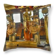 Rms Queen Mary Bridge Well-polished Brass Annunciator Controls And Steering Wheels Throw Pillow