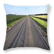 Road Across North Dakota Prairie Throw Pillow