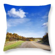 Road Approaching Hill Throw Pillow