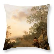 Road By The Edge Of A Lake Throw Pillow