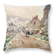 Road In Vetheuil In Winter Throw Pillow
