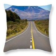 Road Leading To Active Volcanoe Mt Ngauruhoe In Nz Throw Pillow