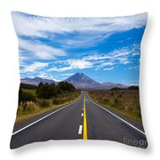 Road Leading To Active Volcanoe Mt Ngauruhoe Nz Throw Pillow