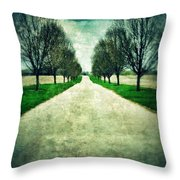 Road Lined By Trees Throw Pillow