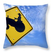 Road Sign Tractor Crossing Throw Pillow