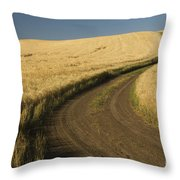 Road Through Wheat Field Throw Pillow