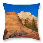 Road Through Zion Np Throw Pillow