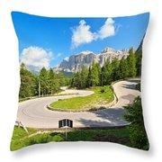 road to Pordoi pass Throw Pillow