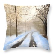 Road To The Ice House Throw Pillow