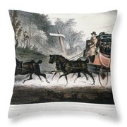 Road Travel/stagecoach Throw Pillow