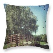 Morgan Horse Farm Vermont Farm Birds Throw Pillow