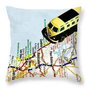 Road Trip - The Pch Throw Pillow by Benjamin Yeager