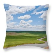 Road Winding Through The Palouse Wheatfields Throw Pillow