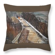 Road With Dense Fencing  Throw Pillow
