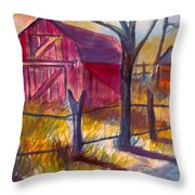 Roadside Barn Throw Pillow