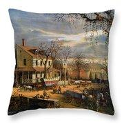 Roadside Inn, 1872 Throw Pillow