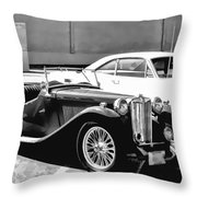Roadster In Black And White Throw Pillow