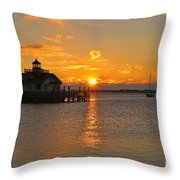 Roanoke Marshes Lighthouse 3210 Throw Pillow