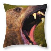 Roaring Grizzly Bears Face Rocky Throw Pillow