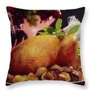 Roast Turkey With Potatoes Throw Pillow by The Irish Image Collection