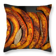 Roasted Pumpkin Slices Throw Pillow