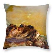 Roasted Steak In Traditional Kotlovina Dish Throw Pillow
