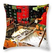 Roasting A Suckling Pig Streetside In Saigon-vietnam  Throw Pillow
