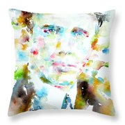 Robert Frost . Watercolor Portrait Throw Pillow