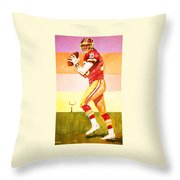 Quarterback In Motion Throw Pillow