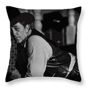 Robert Mitchum Leaning On Poker Table Young Billy Young Set Old Tucson Arizona 1969-2008 Throw Pillow