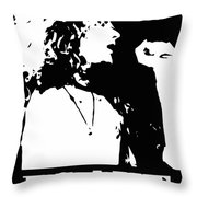 Robert Plant Black And White Pop Art Throw Pillow