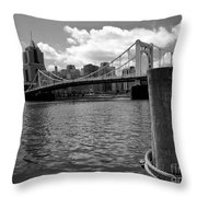 Roberto Clemente Bridge Pittsburgh Throw Pillow