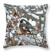 Robin In The Trees Throw Pillow