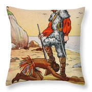Robinson Crusoe And Friday Throw Pillow