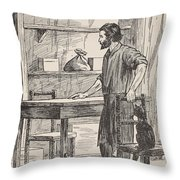 Robinson Crusoe Building Table And Chairs For His Cave Throw Pillow