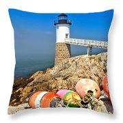 Robinson Point Lighthouse Throw Pillow by Adam Jewell