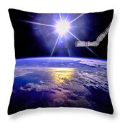 Robot Arm Over Earth With Sunburst  Throw Pillow