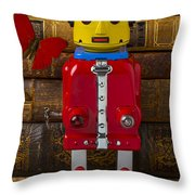 Robot With Butterfly Throw Pillow