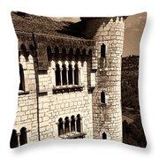 Rocamadour Stone Tower Vertical Panorama Sepia Throw Pillow