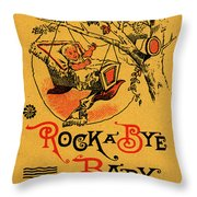 Rock A Bye Baby Sign With Cradle In Tree Branch.  Throw Pillow