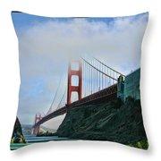 Rock And Golden Gate Throw Pillow